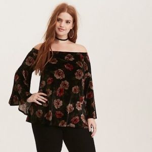 Torrid Velvet Off Shoulder Floral Bell Sleeve Top